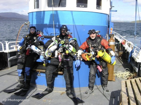 Team of technical divers ready for a wreck dive